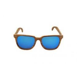Gafas de sol de madera Feler modelo Charles Zebrano azul espejo