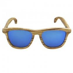 gafa de madera azul espejado