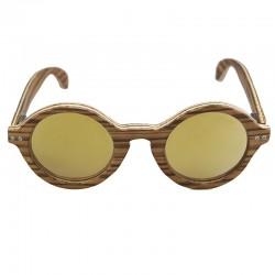 Gafas de sol de madera Feler modelo Coco zebrano oro espejo